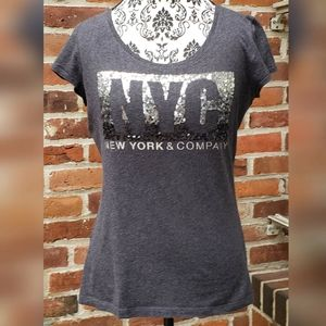 NY&CO  Sequence Novelty Tee Charcoal Gray